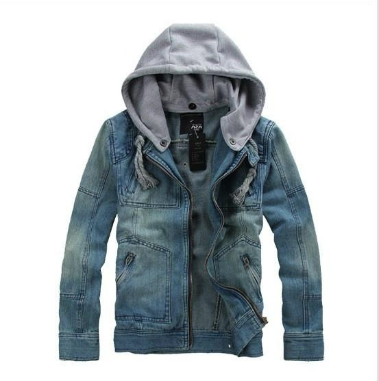 0f55837e93 Men's Fashion Casual Denim Jacket Hooded Washable Removable Hat Jeans - intl