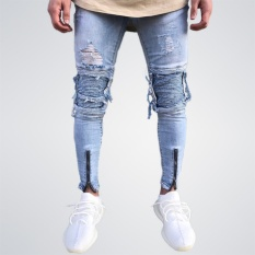32bea9d1a95e 2017 New Men Ripped Distressed holes jeans Zip skinny biker jeans with  Pleated patchwork slim fit
