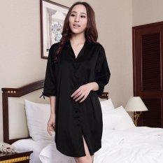 2017 New Sexy Silk Satin Nightgown Half Sleeve Nightdress V-neck Sleeping  Dress Elegant Night 25fddb4b7