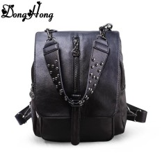1404a2e496 2017 new trend rivet backpack women genuine leather backpack high quality  cute school bag for teenager