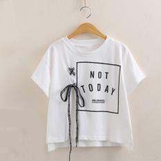 2405cf00541e 2017 summer Harajuku lace up women t shirt ltters print cotton loose crop  tops kawaii bandage