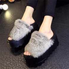 2017 Womens Wedge Casual Thick Slippers Shoes 7.5CM High Heels Faux Fur Sandals GREY -