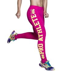 360DSC Athleisure Unique Letter Printed Leggings Tights Active Yoga Running Pants - Red + Yellow Letters