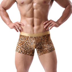 3PC Men's Boxers Briefs Leopard Printed Golden Edge Underwears