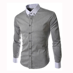 8678 Men's Cotton Long Sleeve Solid Formal Shirts Dark Grey