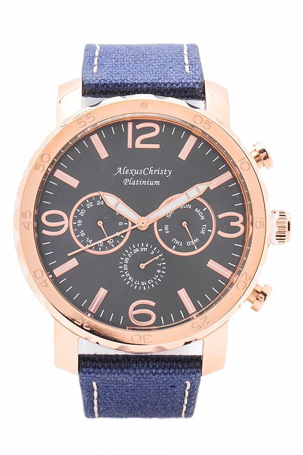 Alexus Christy Men's Blue Leather Strao Watch 3164C - thumbnail