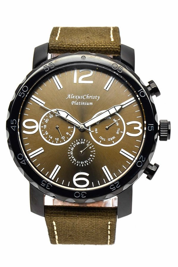 Alexus Christy Men's Olive Green Leather Strao Watch 3164D product preview, discount at cheapest price