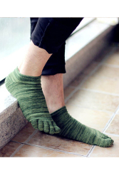 Amango Mens Socks Five Fingers Toe Stripe Green