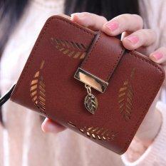 Amart Fashion Female Short Wallet Hollow Gold Leaf Small Purse Coffee - intl