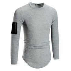 7f02ff27da2fa Amart Fashion Men Hip Hop Zipper Pocket Long Sleeve T-Shirt Curve Hem Men  Street
