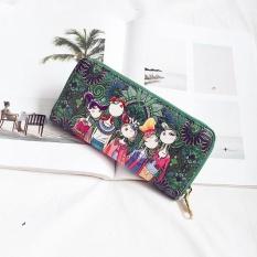Amart Fashion Women Long Purse PU Leather Girls Forest Printing Zipped Wallet Card Holder Clutch Money