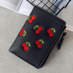 Amart Fashion Women Short Wallet PU Leather Cherry Embroidery Coin Purse Card Holders Lady Girl Mini