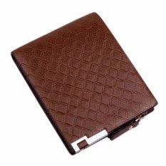 Amart Man Multifunction Wallets PU Leather Zipper Business Wallet Card Purse Plaid Wallets - intl