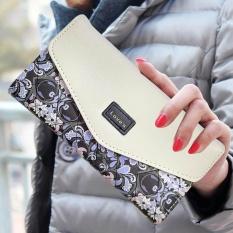 Amart New Fashion Korean Women Long Wallet PU Leather 3 Fold Flowers Printing Wallet Coin Purse