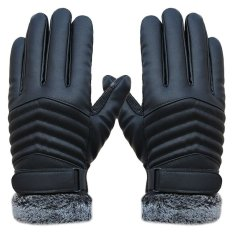 Women's Gloves New Winter Ladies Warm Touch Screen Leather Gloves Hair Ball Pu Leather Plus Velvet Gloves