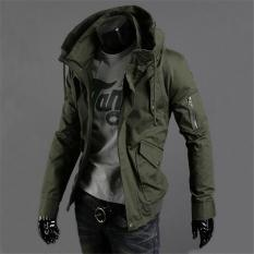 beb6ad9d442 Army GREEN New Spring Summer Military Jacket Male Slim Popular Men s  Clothing Casual Outerwear 2