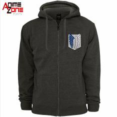 Attack On Titan Anime Unisex Zip Up Hoodie Jacket Grey