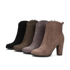 autumn and winter boots and British fashion boots suede high-heeled shoes with non slip