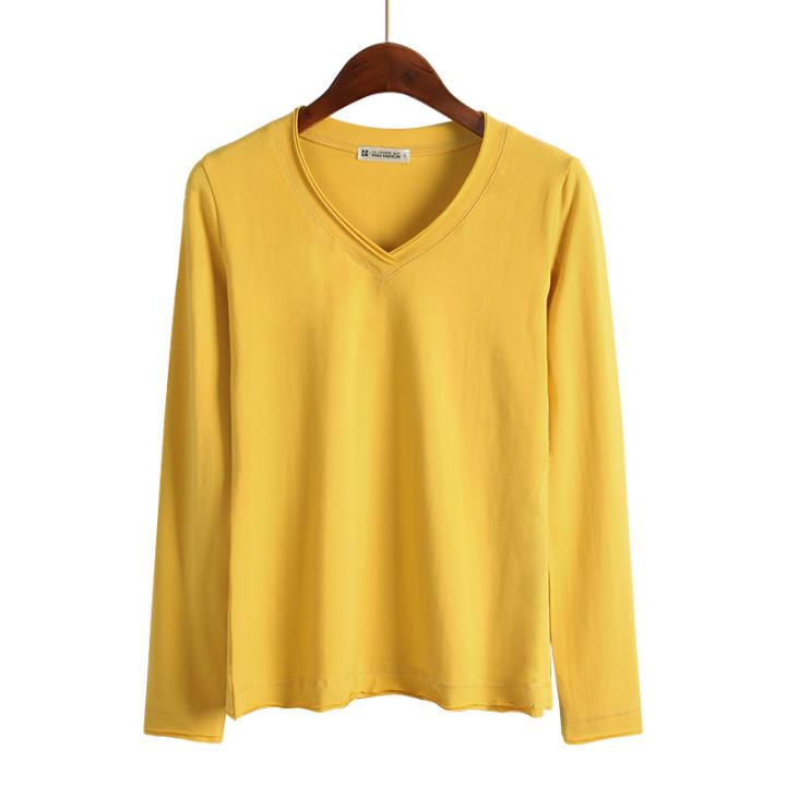 Autumn and Winter versatile solid color female long-sleeved t-shirt base shirt (V-neck-ginger yellow)