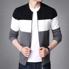 dce79564cad7df Men s Stripe Printed Zipper Round-neck Long Sleeves Knit Cardigan (On the  black)