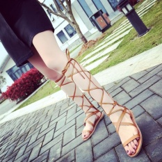 e88a57f5ddfd B-Panda Leather Tassel Gladiator Sandals Women Girls Knee High Summer Boots  (Brown)