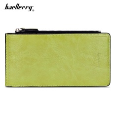 Baellerry Unisex Solid Color Zipper Hasp Design Vertical Thin Long Wallet( Green) - intl