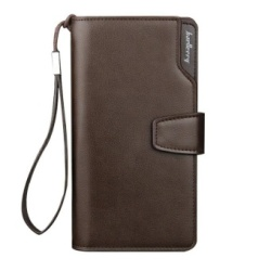 Baellery Men Long Wallet Leather Hand Bag Credit Card & Coin Holders with Hand Strap Brown - intl