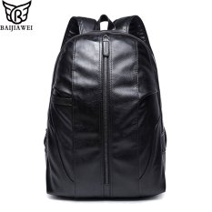 BAIJIAWEI Brand D Oil Wax PU Leather Backpack Men s Travel Bags Western  College Style Fashion Shoulder 784ca04bb22ce