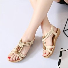 6bd3df8b98629e Beige Women Lady Summer Bohemia Knitted Wood Beads Flat Sandals Shoes Beach  Slippers Sdl