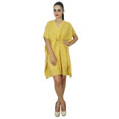 5511e8015f Bimba Womens Plain Kaftan Dress Beach Cover Up Cotton Solid Yellow Caftan,  Yellow - intl