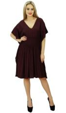 9f72736962 Bimba Womens Short Rayon Kaftan Kimono Sleeve Smocket Waist Summer Beach  Cover Up, Brown -