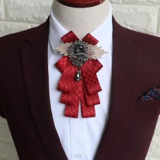 Black Rhinestone Crystal Dangle Wedding Party Men Pre Tied Bow Tie Neck Tie Wine Red - Intl By Audew.