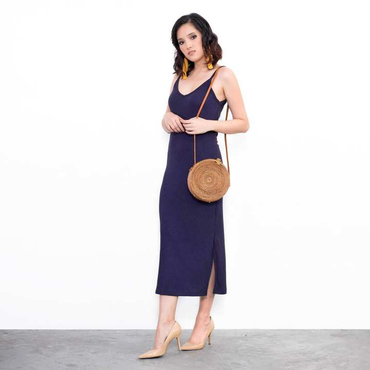 BLACK SHEEP Spaghetti Strap Ribbed Maxi Dress with Side Slit in Navy Blue