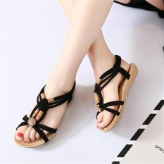 ad59a1c9a463e2 Black Women Lady Summer Bohemia Knitted Wood Beads Flat Sandals Shoes Beach  Slippers Sdl