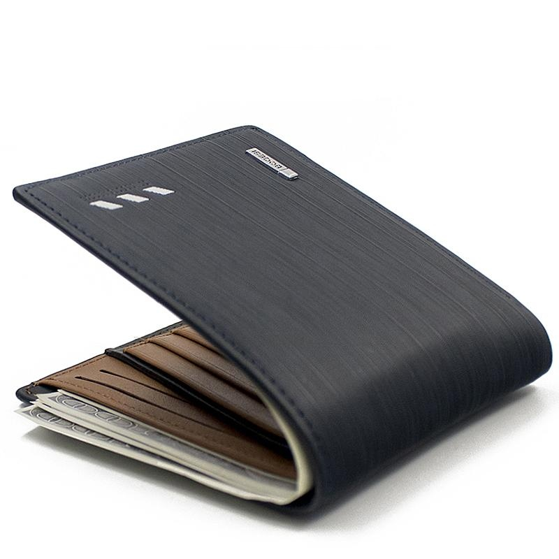 Bogesi Big Capcity Men Short Pu Leather Wallet (Black)