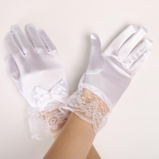 b522b7c6fa BolehDeals 1 Pair Wedding Flower Girl Short Gloves Satin Bow Lace Party  Costume Girls Dance Formal