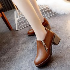 329fb6dfda Botas Mujer Fashion Women Boots Square Heel Platforms Zapatos Mujer PU  Leather Thigh High Pump Boots