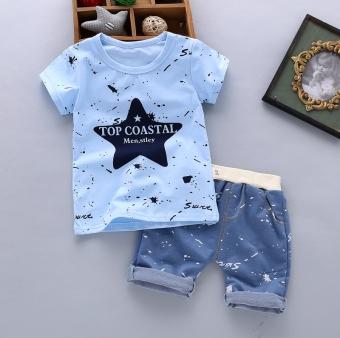 boy men Summer Wear Set 2018 New Style Slub Cotton Short Sleeve T-shirt Children Summer Childrenswear Two-Piece Set 1-2-3-4-Year-Old