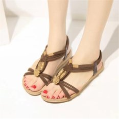 af6f2239b9dd14 Brown Women Lady Summer Bohemia Knitted Wood Beads Flat Sandals Shoes Beach  Slippers Sdl