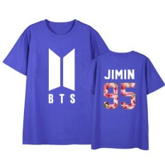 BTS ARMY BON VOYAGE Season2 JIMIN Album Shirts HipHop Loose Clothes Tshirt  T Shirt Short Sleeve Tops T-shirt DX541 (Blue) - intl