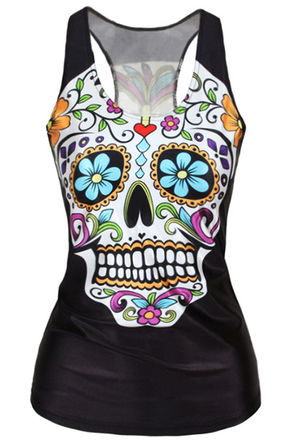 Buytra Floral Skull Printed Tank Top (Black) product preview, discount at cheapest price