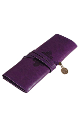 Buytra Leather Make Up Cosmetic Pen Pencil Case Pouch Purse Bag Purple