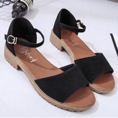 2ecaea5034f BYL Roman flat heel A-line ladies shoes flat women s sandals (Black Matte)