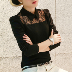 CALAN DIANA Womens Korean-style Slim Fit Lace Long Sleeve Top (Black) Women Clothing Tops Blouse Blouses Shirts