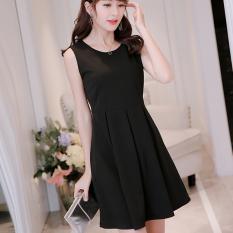 Caidaifei Korean plain spring-summer New style dress (Black) (Black)