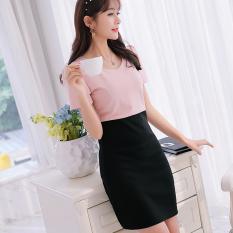 CALAN DIANA Women's Korean-style Short Sleeve Dress (Pink) (Pink)