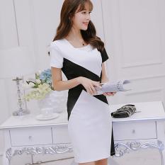 CALAN DIANA Women's Korean-style Short Sleeve Dress (White) (White)