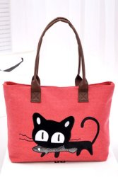 Canvas Cute Cat Bag (Red)