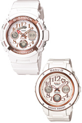 Casio G-Shock and Baby-G Couple White Resin Strap Watches LOV-13A-7A