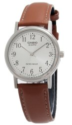 Casio Analog  MTP-1095E-7BDF Brown Leather Strap Men's Watch